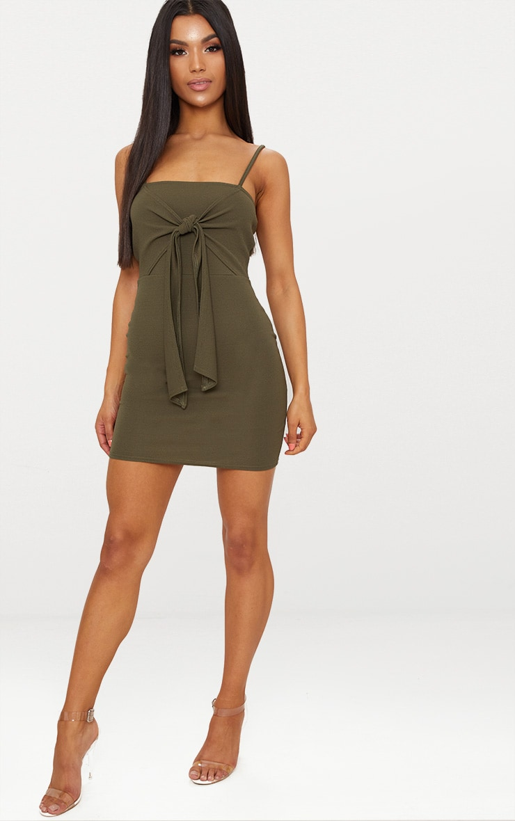 Khaki Strappy Tie Detail Bodycon Dress 4