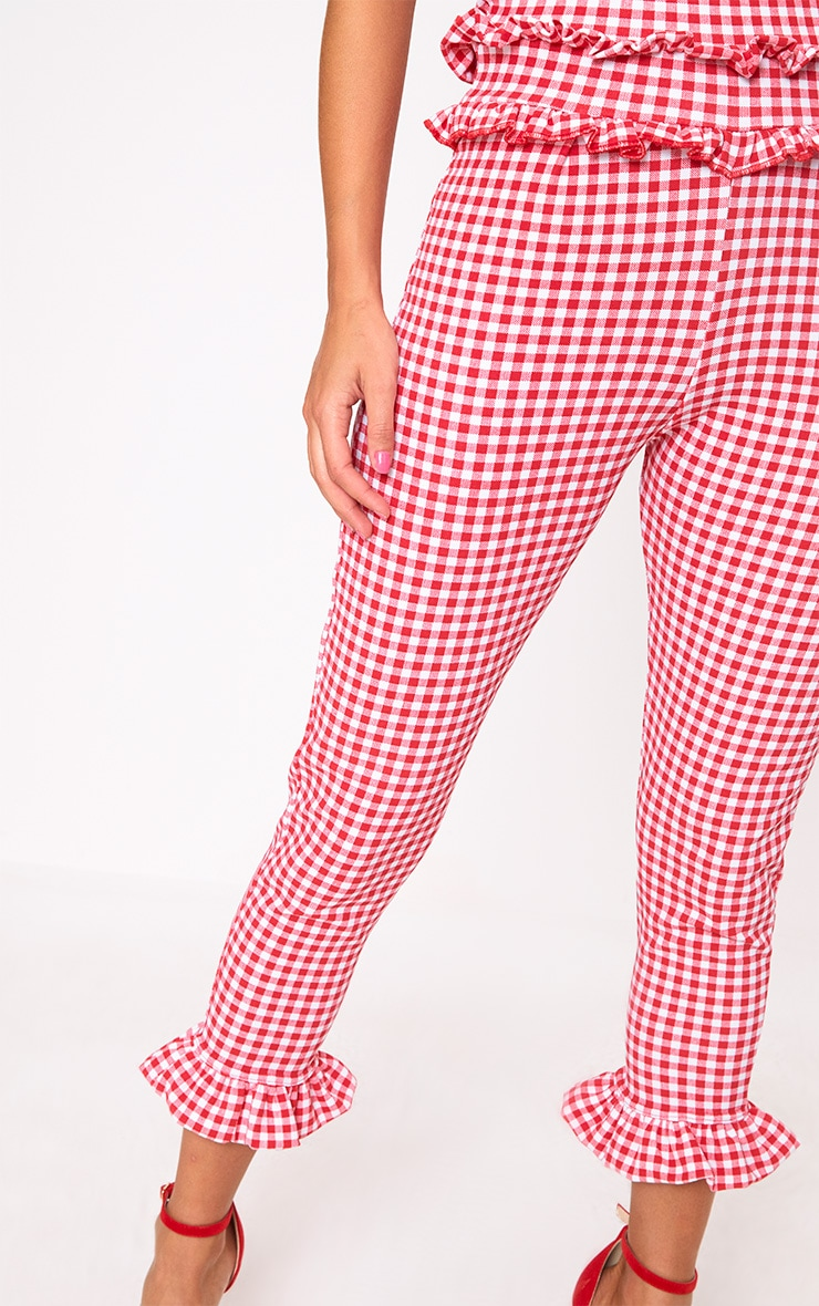 Red Gingham Frill Hem Bandeau Jumpsuit 5