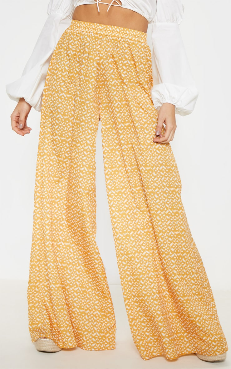 Mustard Aztec Extreme Wide Leg Floaty Pants 2