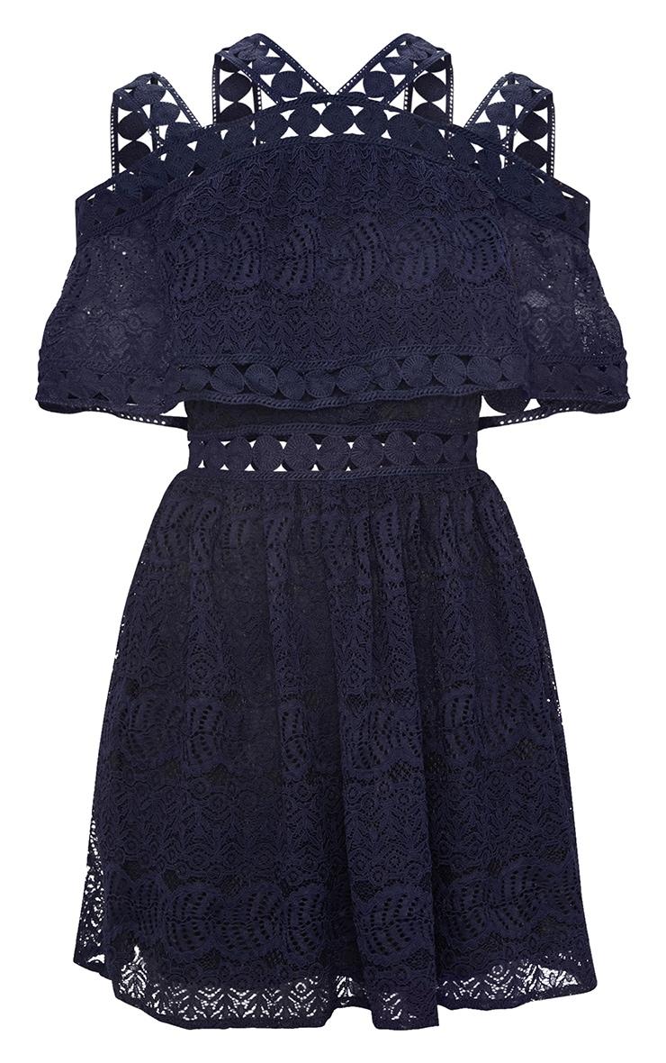 Navy Cold Shoulder Lace Skater Dress 3