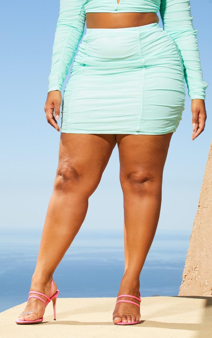 Plus Aqua Second Skin Ruched Mesh Bodycon Skirt 2