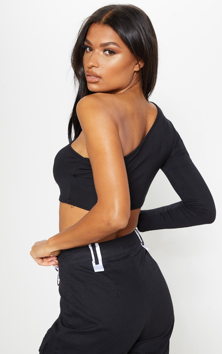 Black Jersey One Shoulder Crop Top 2