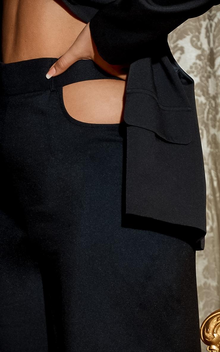 Black Cut Out Detail Wide Leg Trousers 6