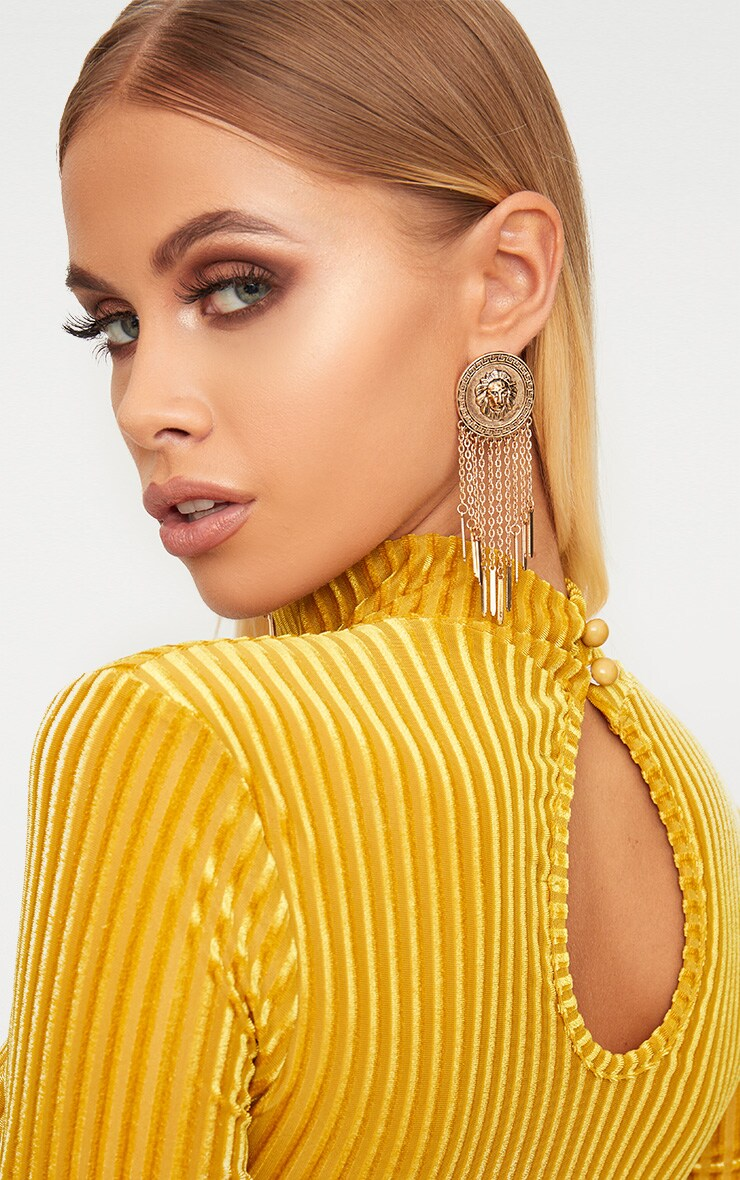 Mustard High Neck Mesh Striped Velvet Long Sleeve Bodycon Dress 5
