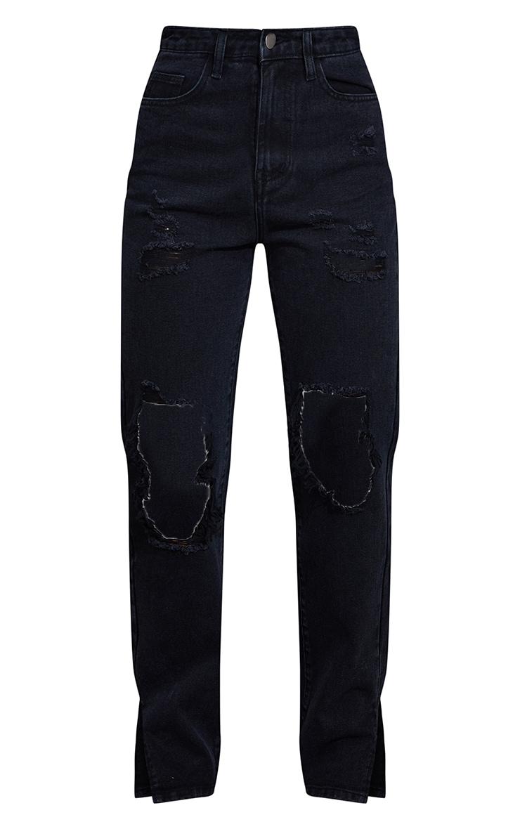 Washed Black Ripped Open Knee Split Hem Jeans 5