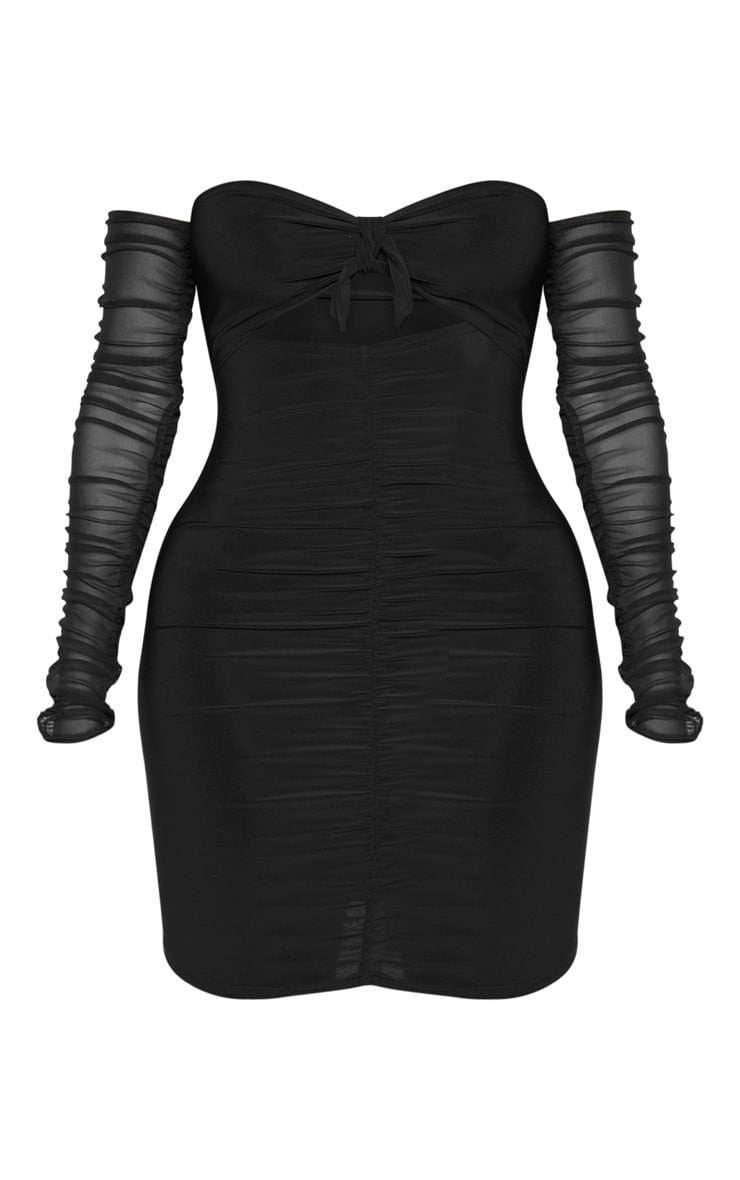 Shape Black Tie Bust Ruched Mesh Sleeve Bodycon Dress 3