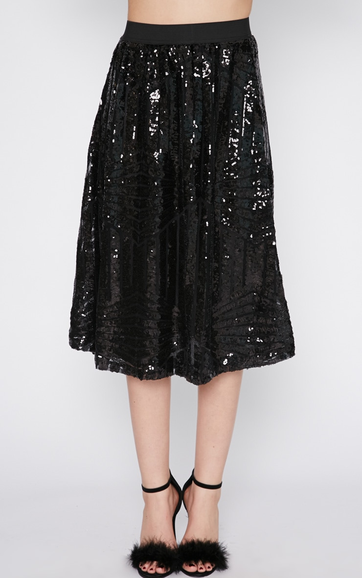 Amelia Black Sequin Pattern A Line Skirt  4
