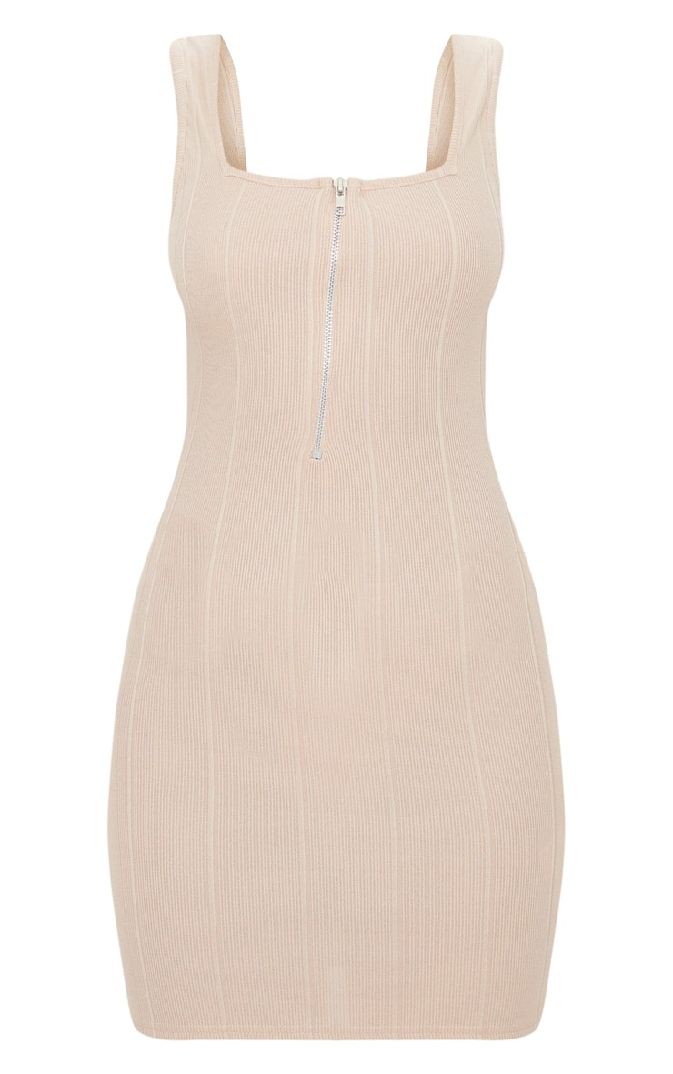Stone Bandage Zip Detail Square Neck Bodycon Dress 3