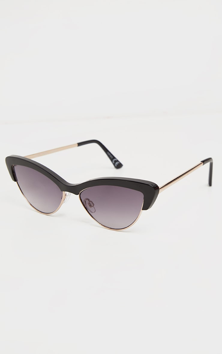 Black Half Frame Cat Eye Sunglasses 4
