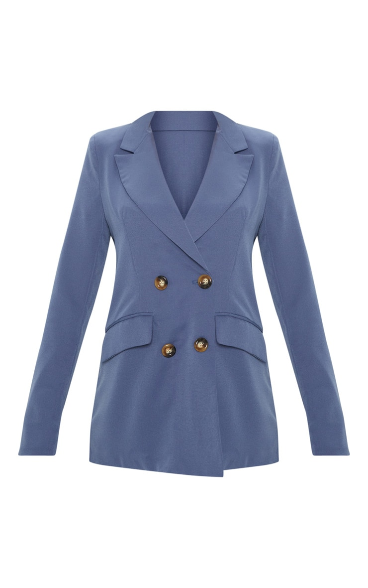 Blue Oversized Button Detail Woven Blazer 3