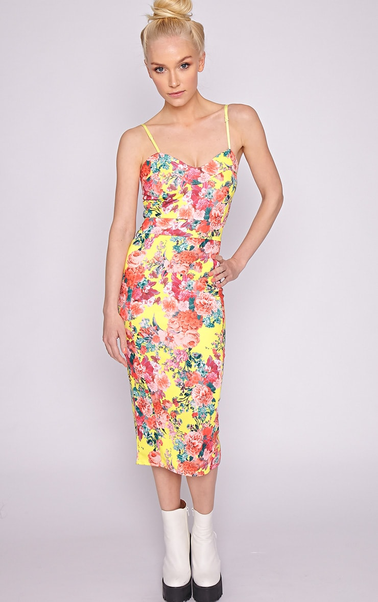 Selena Yellow Floral Midi Dress 4