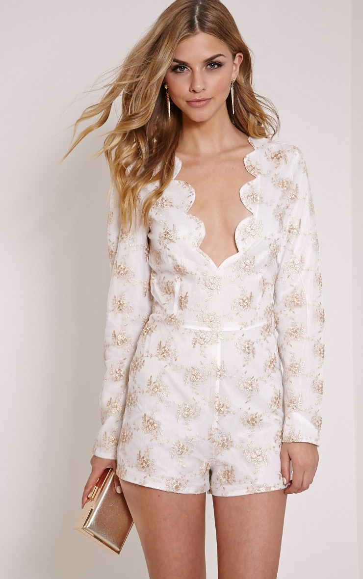 Sally Gold Scalloped Hem Long Sleeve Playsuit 1