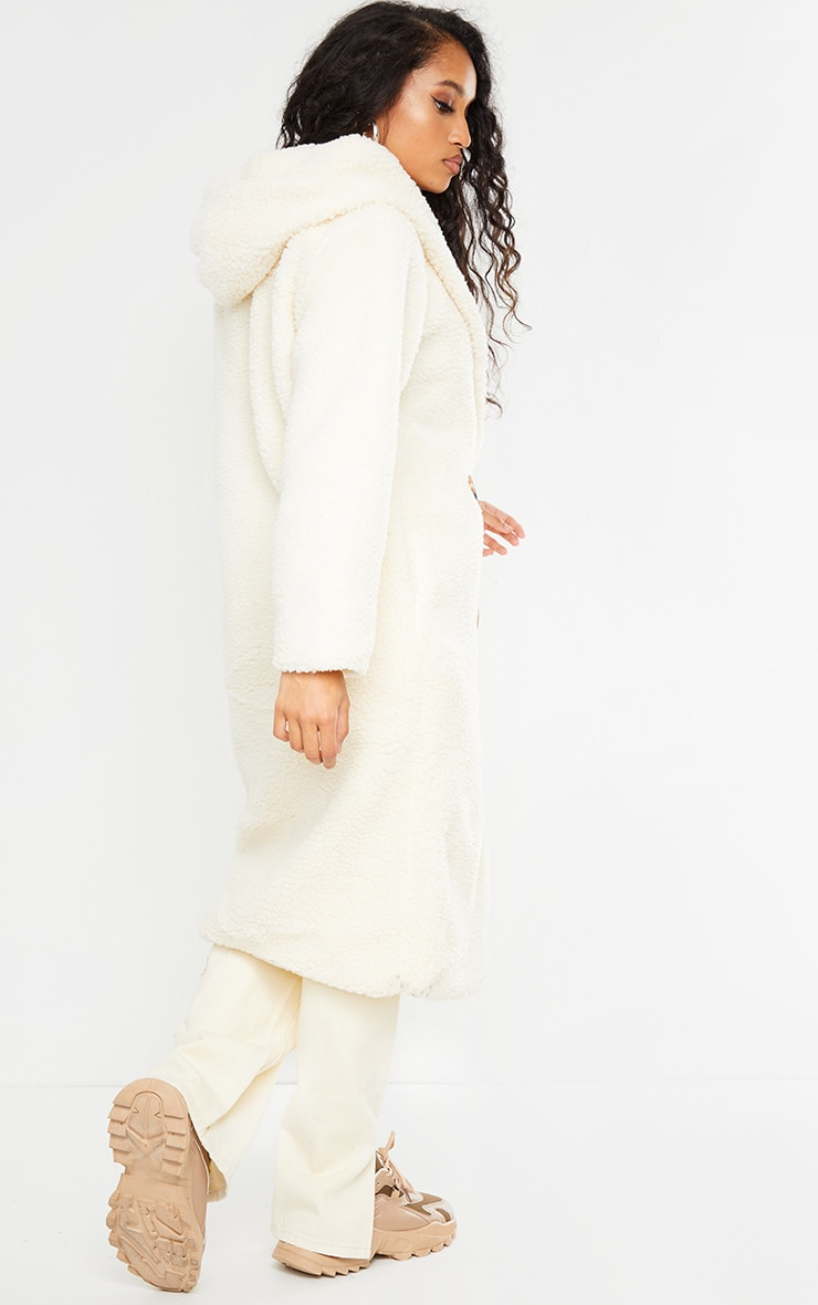 Petite Cream Borg Hooded Midi Coat 2