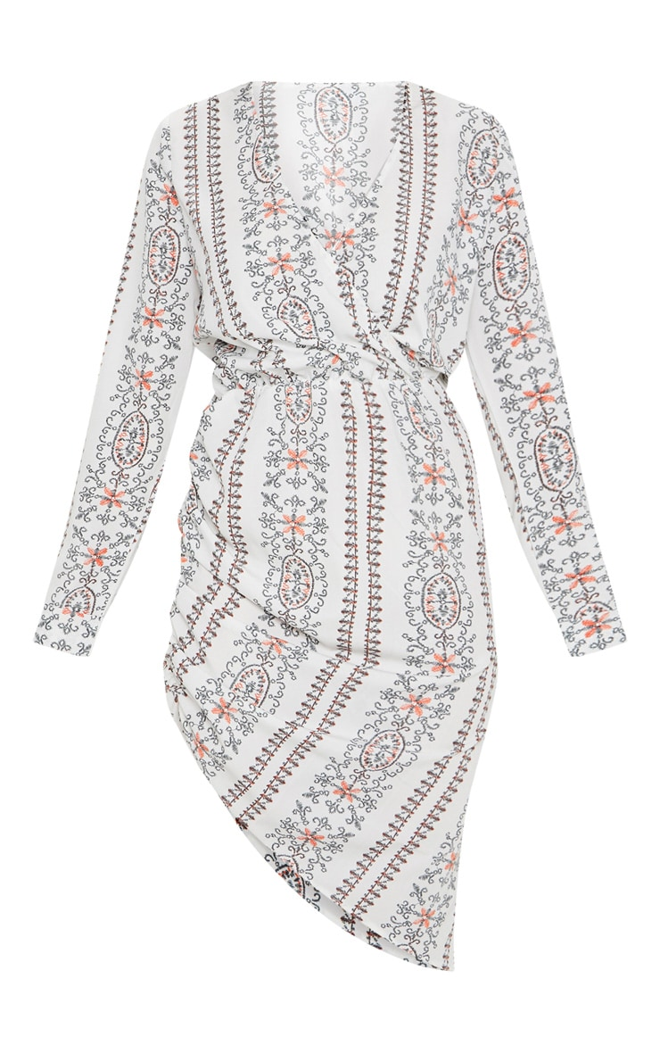 White Embroidered Paisley Print Ruched Midi Dress 3