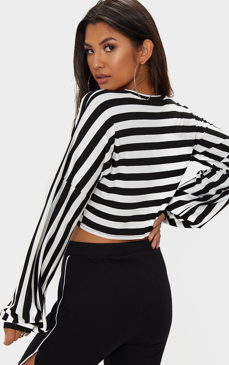 Black Gather Sleeve Stripe Crop Top  2