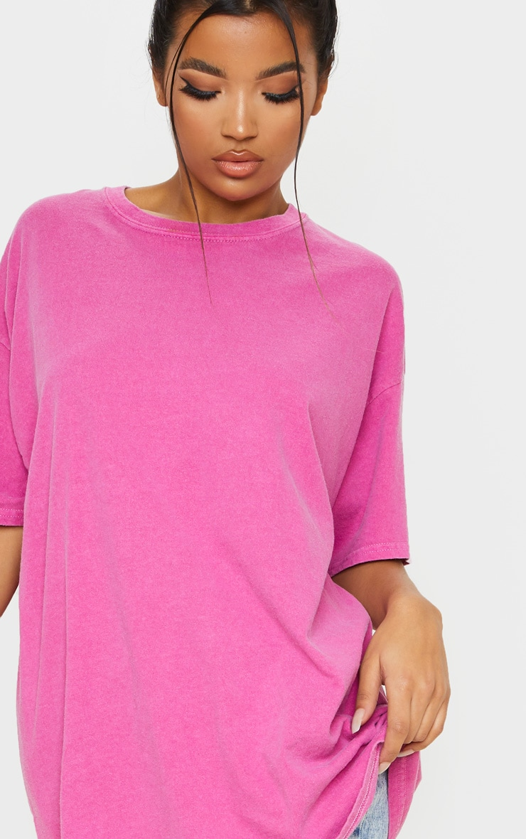 Pink Washed Oversized T Shirt 5