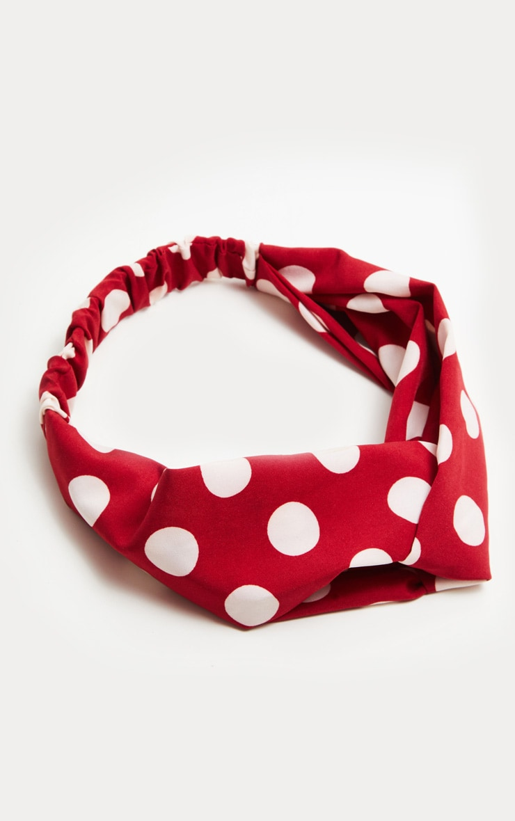 Red Polka Dot Twist Headband 2
