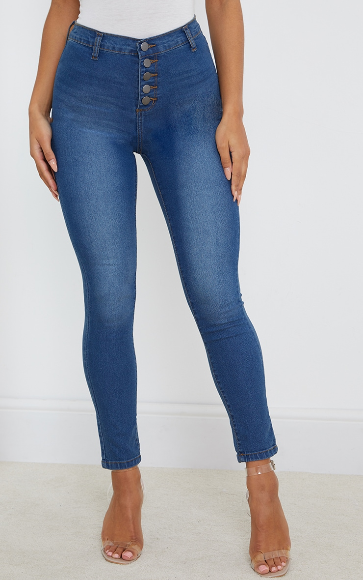 Mid Wash Button Front Disco Fit Skinny Jeans 2