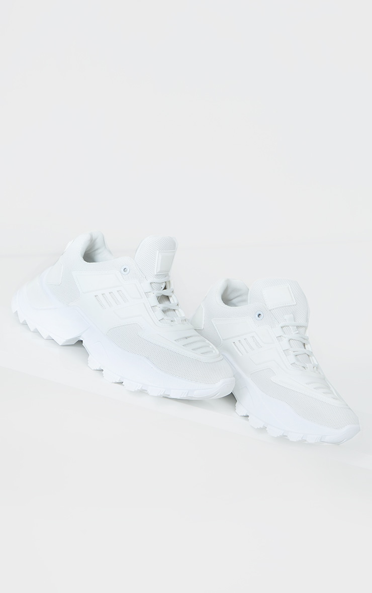 White Sports Panel Upper Cleated Chunky Trainers 3
