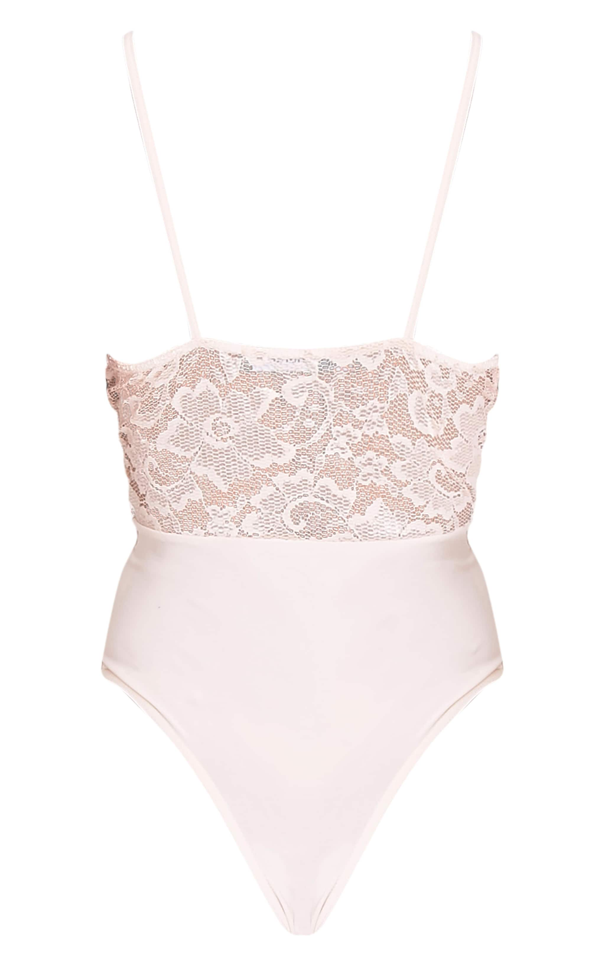 Angeline Nude Deep Plunge Lace Thong Bodysuit 4