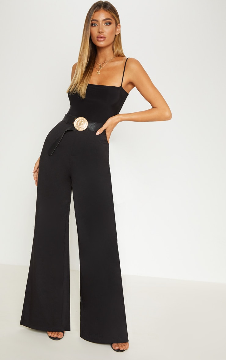 Reemah Black Wide Leg Crepe Trousers 2