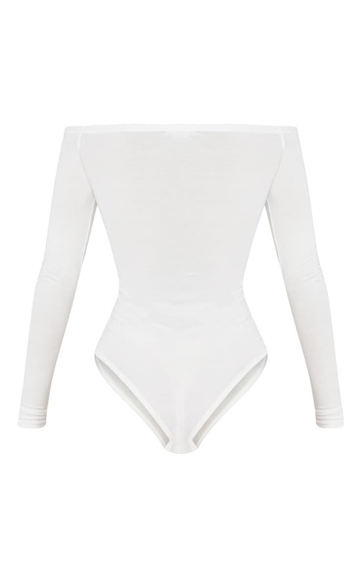 Basic Cream Bardot Bodysuit 4