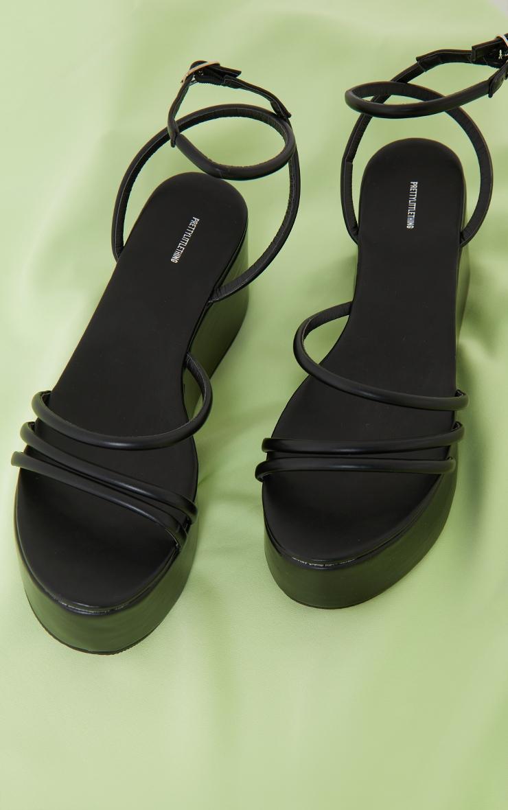 Black Tube Strappy High Flatform Sandals 3