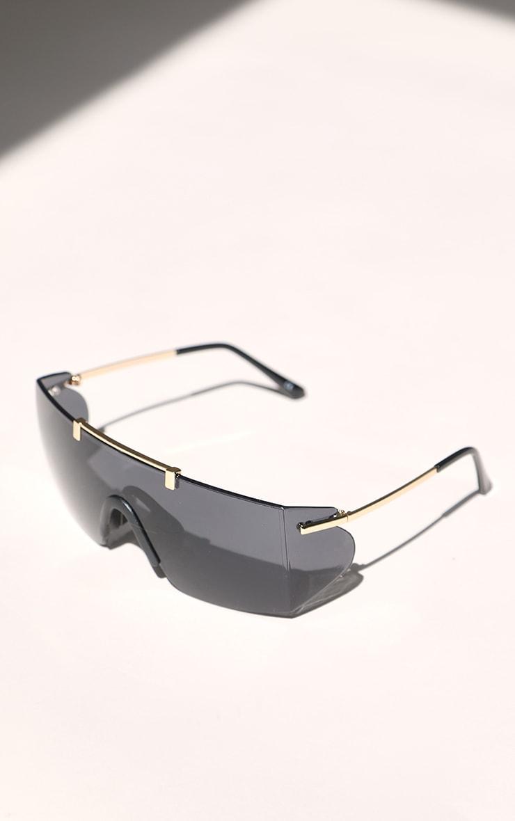 Black Matte Oversized Square Sunglasses 3