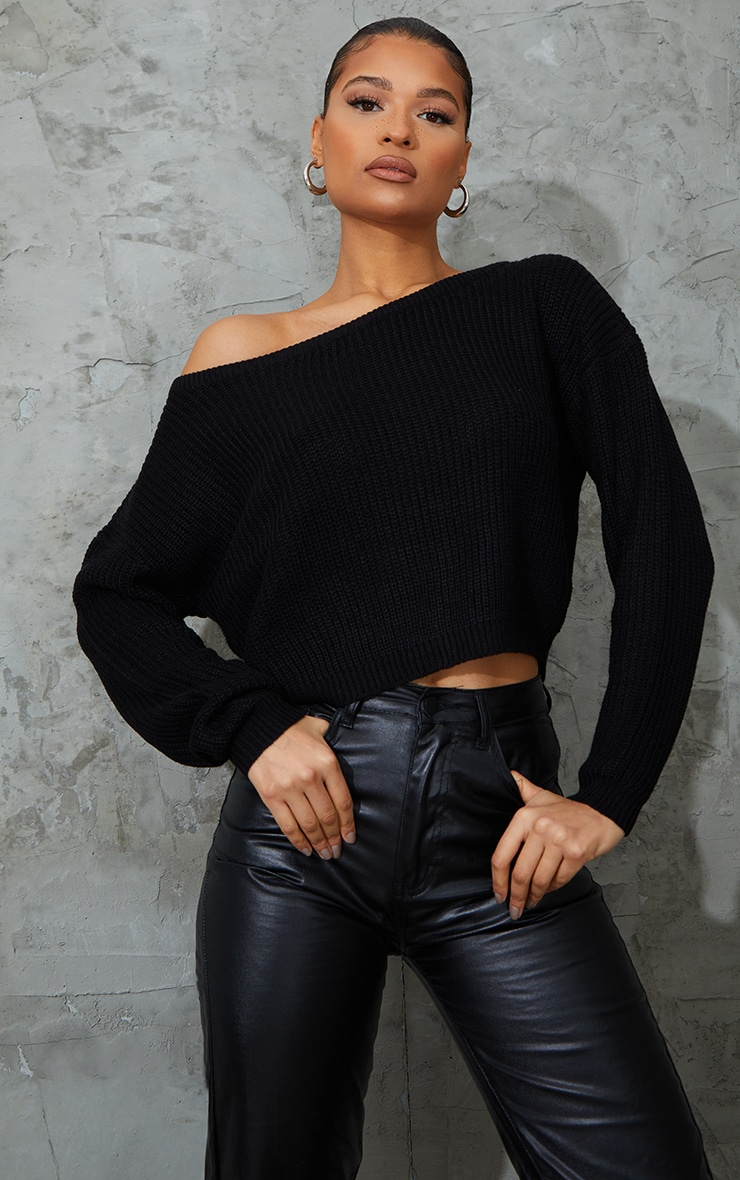 Black Off The Shoulder Knitted Sweater 1