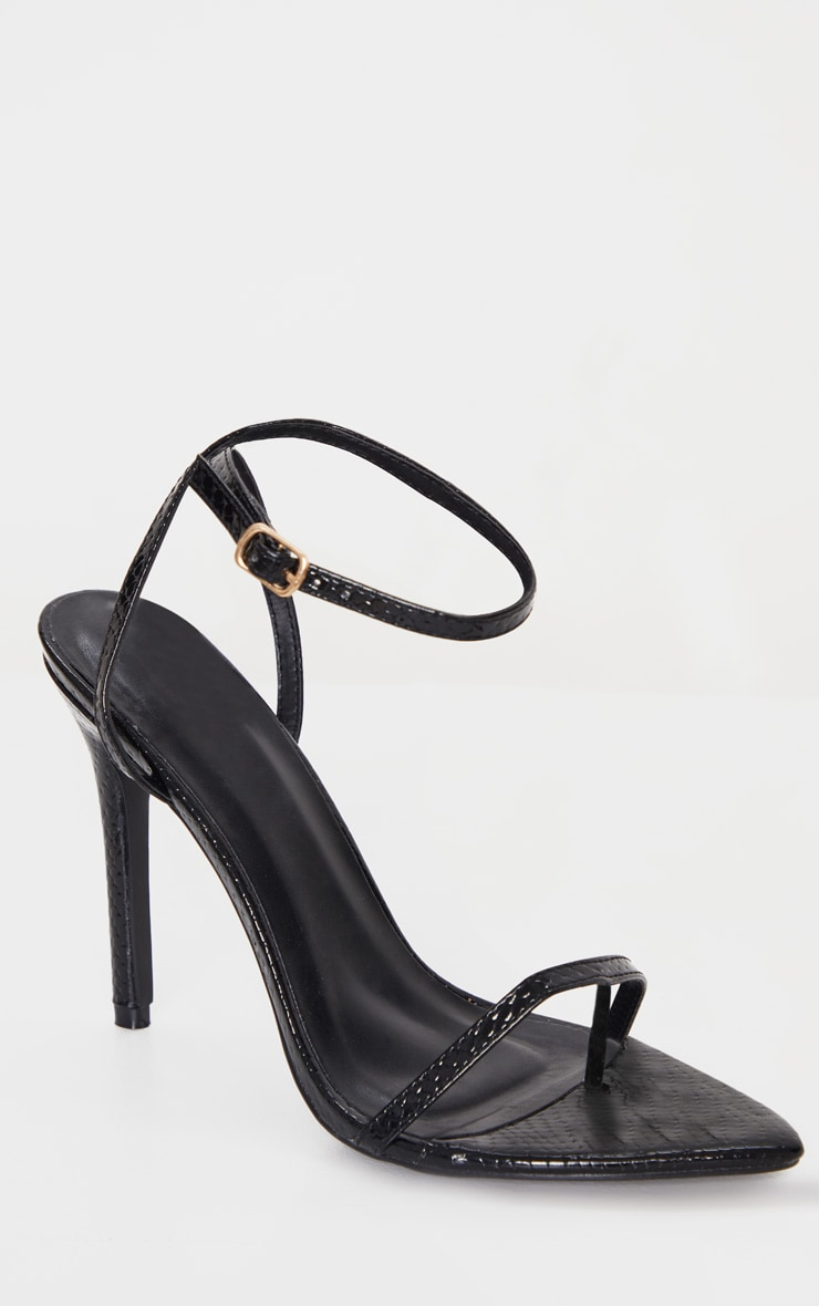 Black Snake Toe Thong Ankle Strap Point Toe Heeled Sandal 3