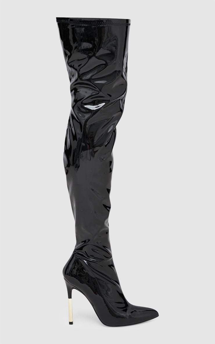 Black Patent Over The Knee Slim Heel Skin Boot 3