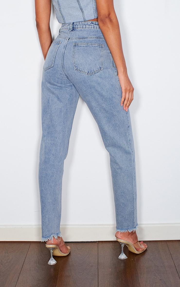 Vintage Wash Frayed Hem Jeans 3