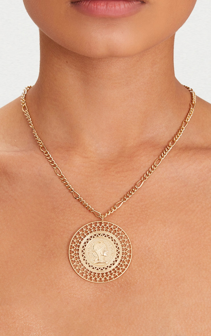 Gold Large Coin Medallion Necklace 1
