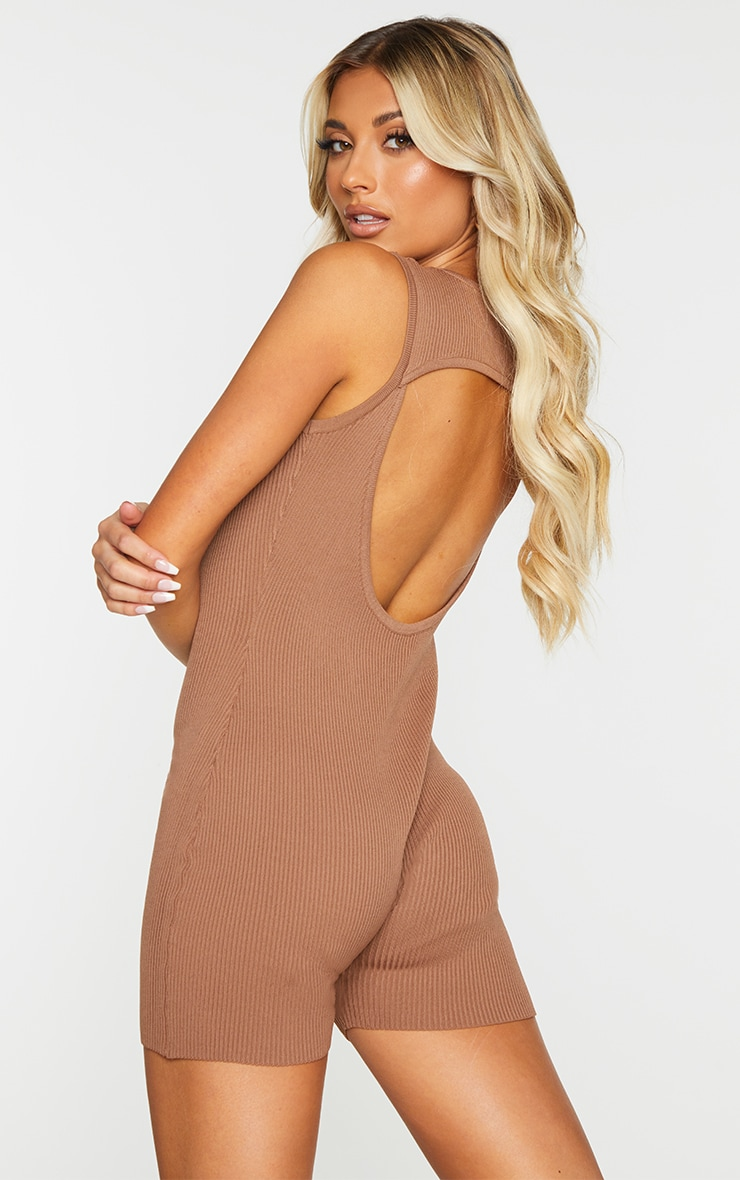 Chocolate Ribbed Knitted Cut Out Unitard 2