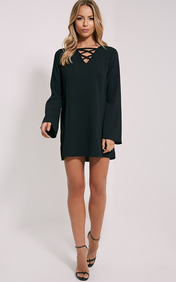 Liz Black Cross Front Crepe Loose Fit Swing Dress 4