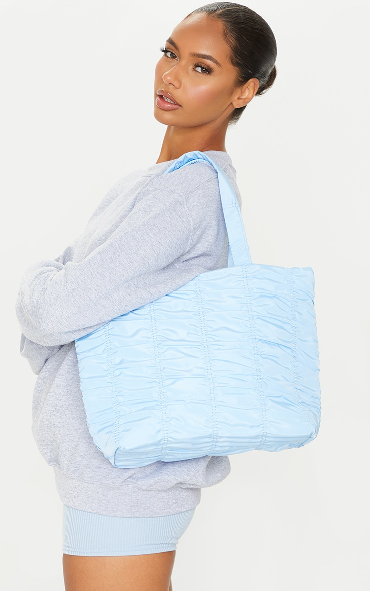 Baby Blue Ruched Tote Bag 1