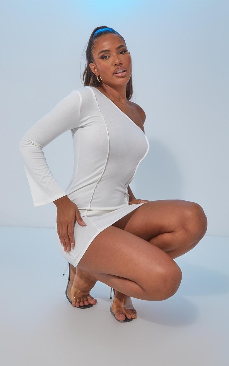White Asymmetric Binding One Shoulder Bodycon Dress 3