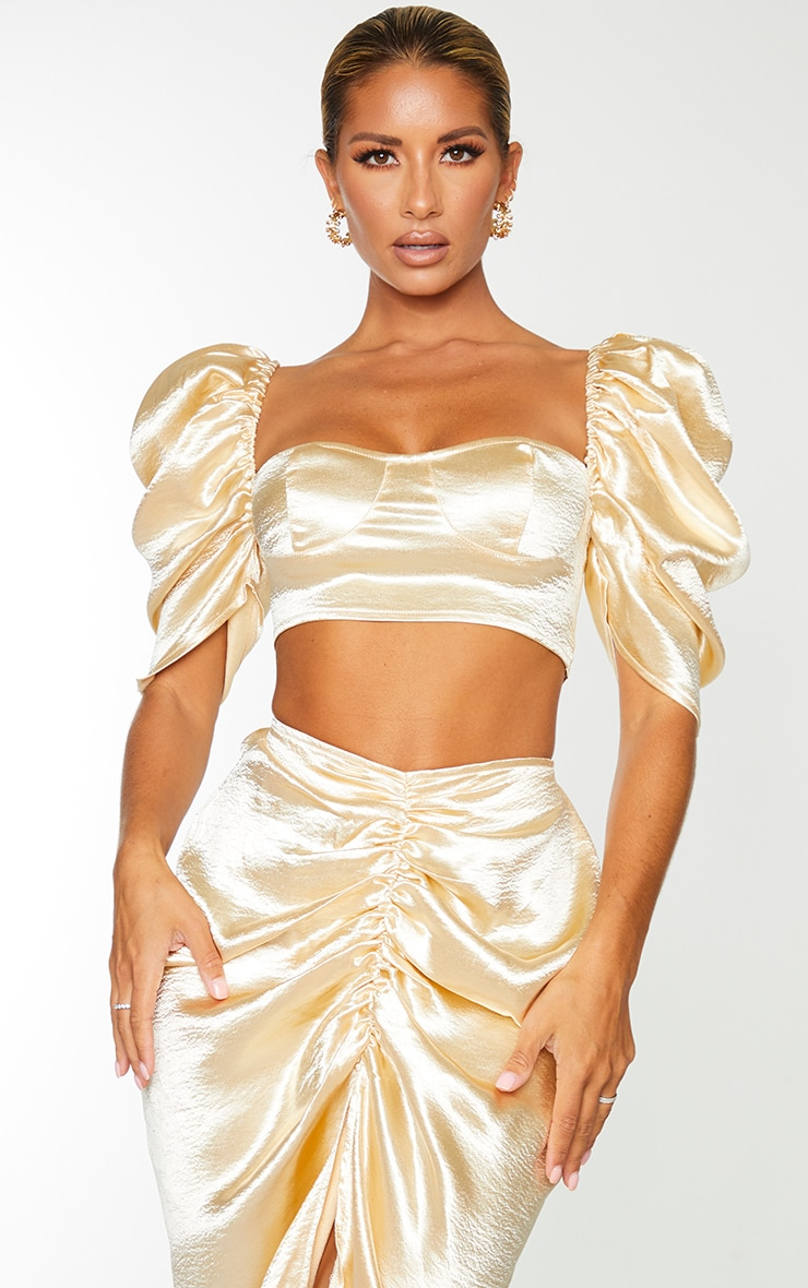 Cream Satin Ruched Puff Sleeve Cup Detail Crop Top 1