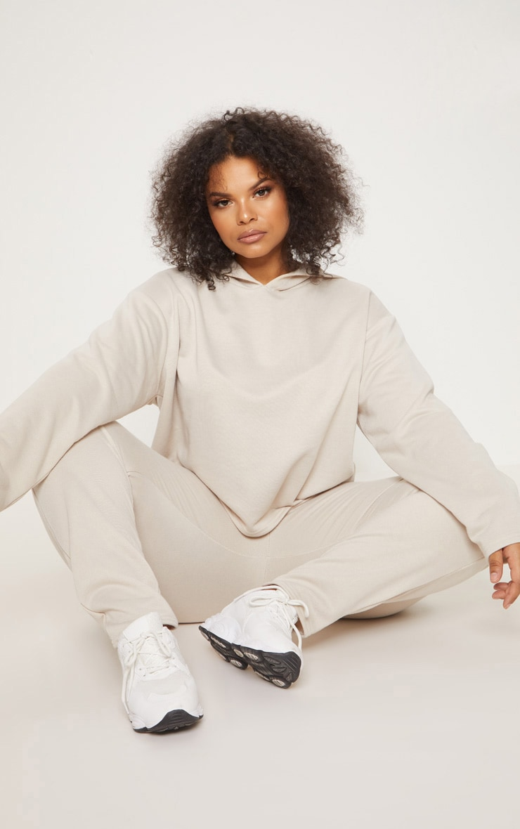 Plus Stone Oversized Cropped Hoodie 1
