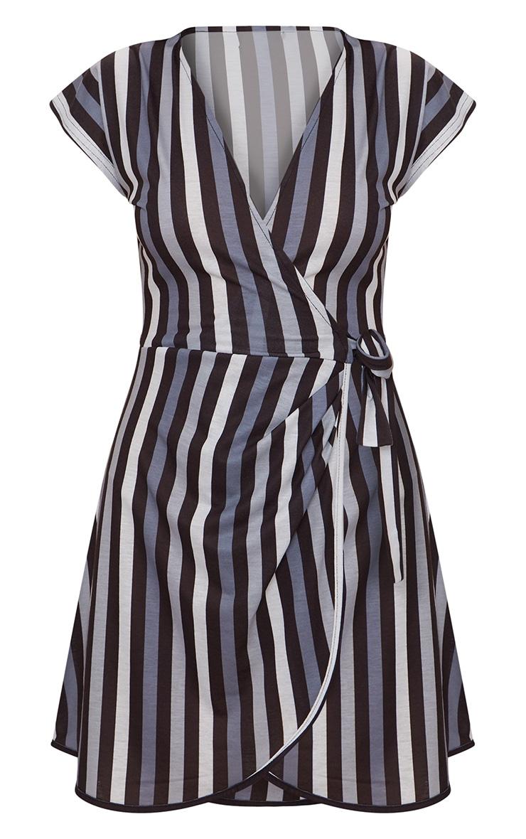 Black Stripe Tie Detail Wrap Dress  3