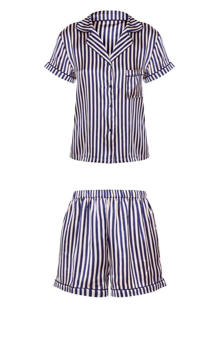 Nude & Navy Striped Button Up Short PJ Set 3