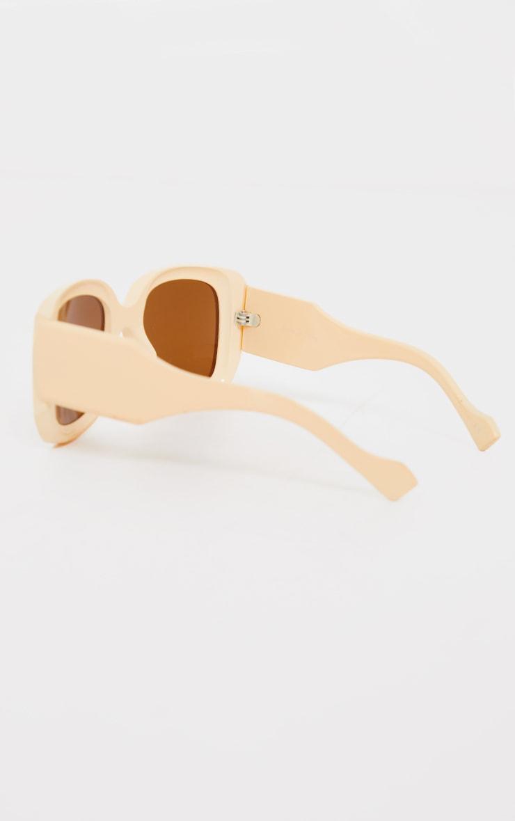 Cream Oversized Chunky Square Frame Sunglasses 3