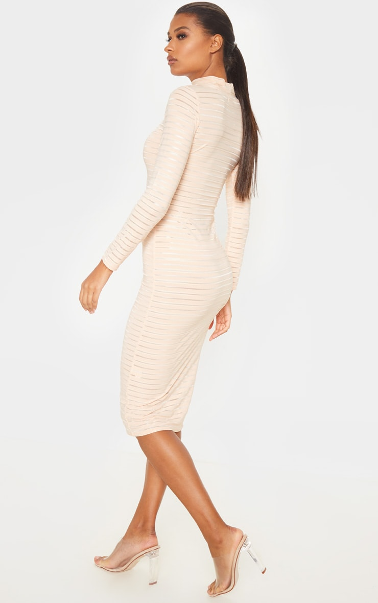 Nude Sheer Stripe Long Sleeve High Neck Midi Dress 2