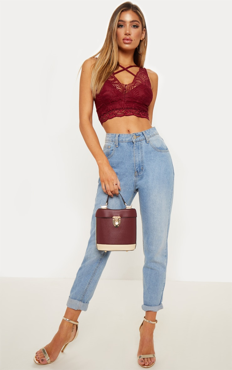 Burgundy Lace Cross Front Detail Bralet 4