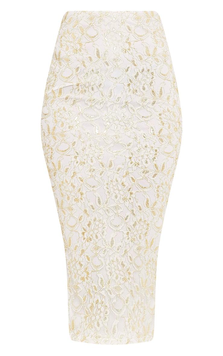 Brigitte Cream Metallic Lace Midaxi Skirt 3