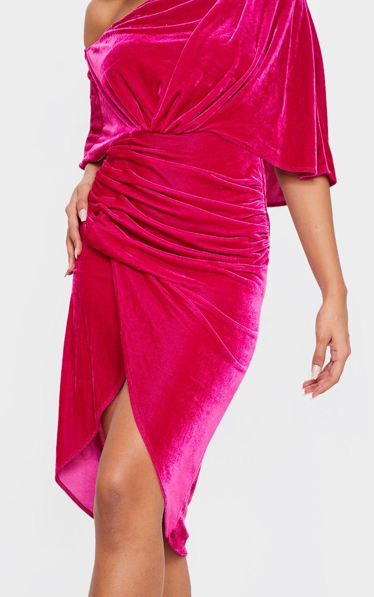 Hot Pink Velvet Off Shoulder Drape Midi Dress 4
