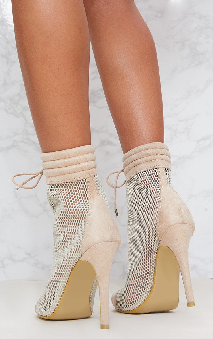 Beige Lace Up Mesh Peep Toe Boot 4