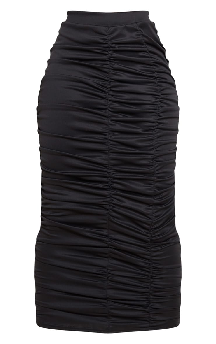 Black Scuba Double Ruched Midaxi Skirt 6