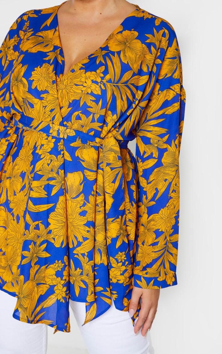 Plus Cobalt Tropical Print Woven Tie Waist Blouse  5