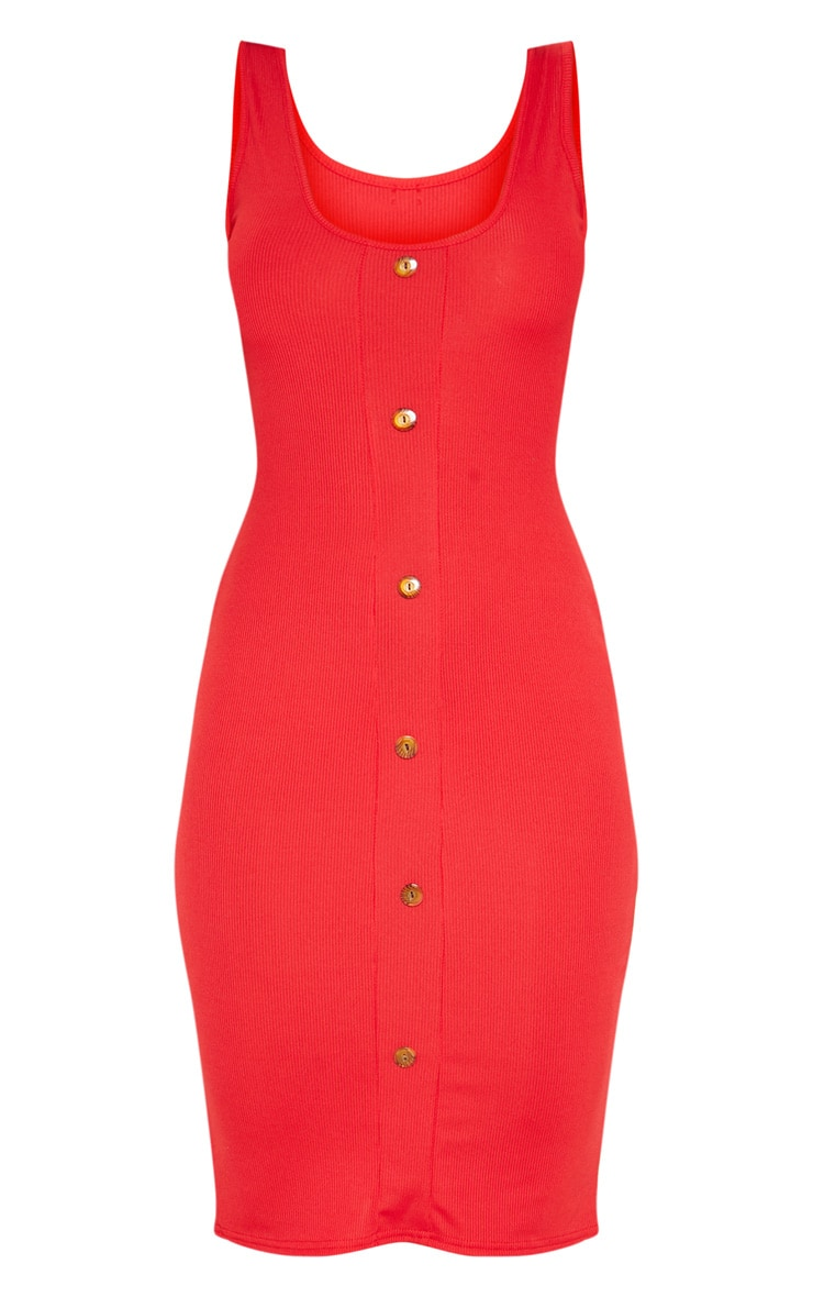 Red Ribbed Scoop Tortoise Shell Button Down Bodycon Dress 3